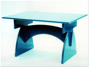 Lacqered high gloss Azure Blue table
