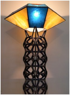 Hexagonal Lamp in shades of blue and gold