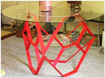 Red Hex table - metal hex base figure, floated glass top