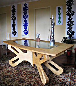 Dragonfly table with wall banners based on Columns of Breath or Pulse Columns